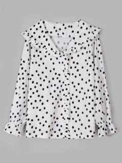 Camisa De Lunares Con Volantes - Blanco M