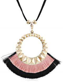 Tassel Round Design Decorative Sweater Necklace - Pink