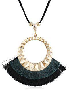 Tassel Round Design Decorative Sweater Necklace - Dark Forest Green