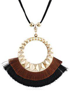 Tassel Round Design Decorative Sweater Necklace - Brown