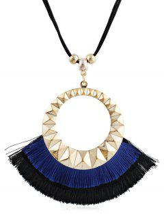 Tassel Round Design Decorative Sweater Necklace - Blue
