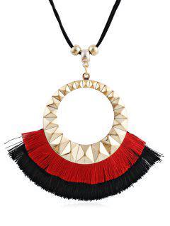Tassel Round Design Decorative Sweater Necklace - Red