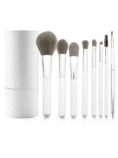 8 Pcs Synthetic Fiber Hair Cosmetic Brush Suit And Makeup Brush Cylinder - White