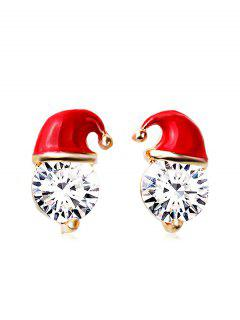 Christmas Hat Faux Crystal Stud Earrings - Red