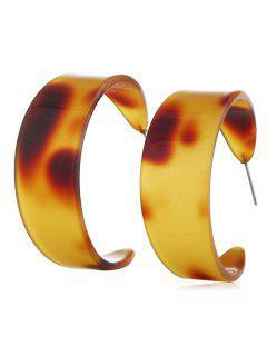 Simple Design Cuff Stud Earrings - Brown