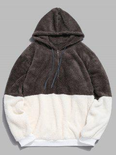 Faux Fur Half Zip Panel Hoodie - Dark Gray M