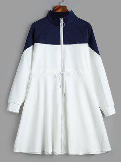 Skirted Two Tone Zip Up Coat - White L