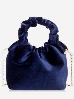 Solid Round Shape Handle Handbag - Deep Blue