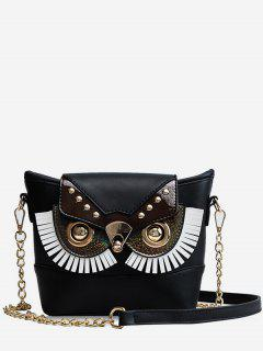 PU Leather Owl Shape Crossbody Bag - Black