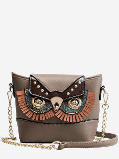PU Leather Owl Shape Crossbody Bag - Brown