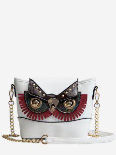 PU Leather Owl Shape Crossbody Bag - White