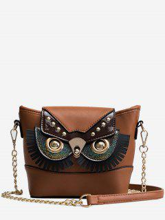 PU Leather Owl Shape Crossbody Bag - Khaki