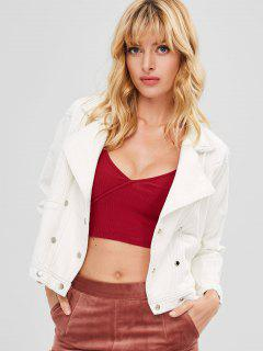 Button Fly Denim Jacket With Pockets - White