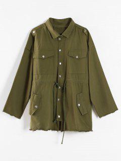 Drawstring Twill Safari Jacket - Army Green Xl