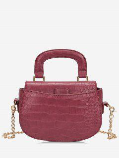Mini Top Handle Chain Crossbody Bag - Red Wine