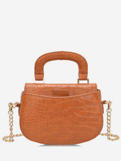 Mini Top Handle Chain Crossbody Bag - Brown