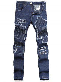 Zip Fly Straight Leg Distressed Jeans - Dark Slate Blue 32