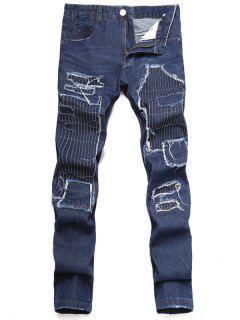 Zip Fly Straight Leg Distressed Jeans - Dark Slate Blue 34
