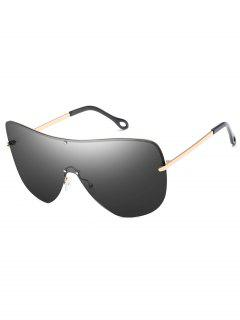 Anti Fatigue Rivets Shield Sunglasses - Champagne Gold