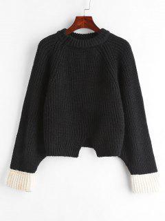 Contrast Cuffs Raglan Sleeve Chunky Sweater - Black
