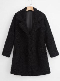 Faux Shearling Fluffy Winter Coat - Black L