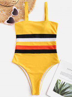 ZAFUL Multicolored Striped High Cut Swimsuit - Rubber Ducky Yellow S