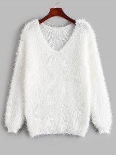 Suéter Fuzzy Con Cuello En V - Blanco