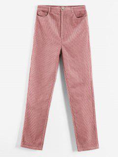 ZAFUL Pantalon Avec Poche En Velours Côtelé - Rose Léger  M