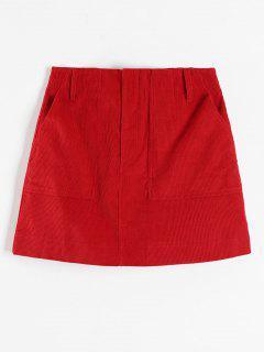 ZAFUL Corduroy Pocket Short Skirt - Red L