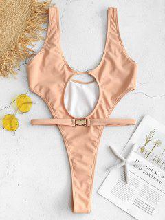 ZAFUL Bikini Con Tanga Con Cinturón - Rosa Naranja M