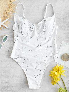 ZAFUL Marble Thong One Piece Swimsuit - White L