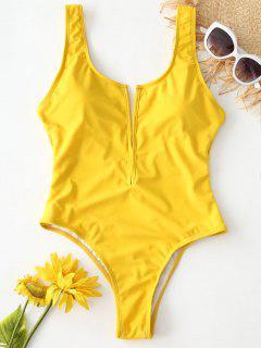 ZAFUL Backless High Leg Swimsuit - Golden Brown M