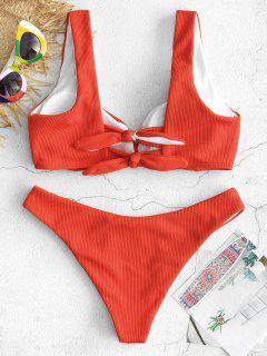 ZAFUL - Bikini-Set Für Den Hinteren Knoten - Lava Rot S
