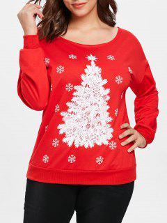 Plus Size Casual Christmas Tree Sweatshirt - Red 2x