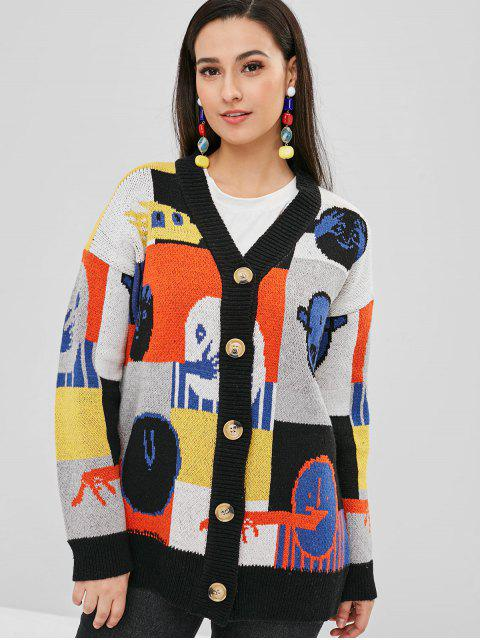 shop Button Up Graphic Loose Cardigan - MULTI ONE SIZE Mobile