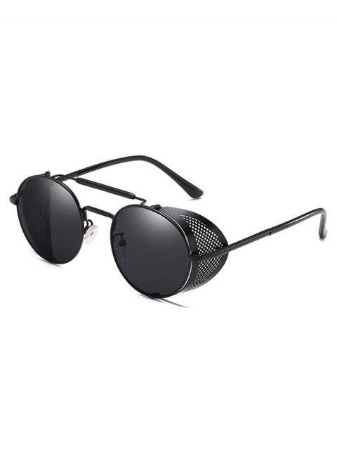 shop Stylish Crossbar Metal Frame Round Sunglasses - BLACK  Mobile