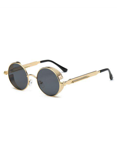 trendy Metal Frame Flat Lens Round Sunglasses - CHAMPAGNE GOLD  Mobile