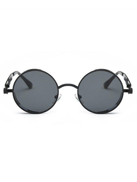 fashion Metal Frame Flat Lens Round Sunglasses - BLACK  Mobile