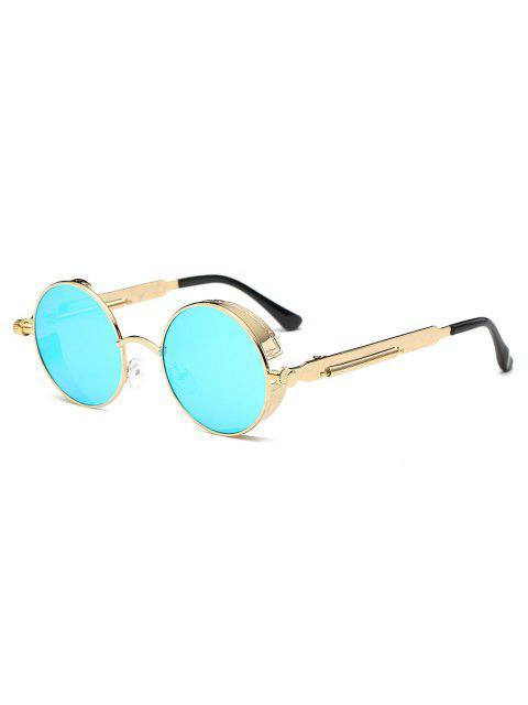 fancy Metal Frame Flat Lens Round Sunglasses - LIGHT SKY BLUE  Mobile