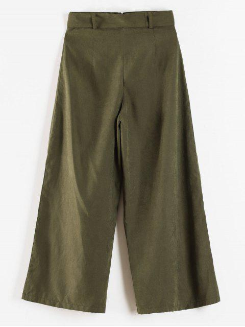 chic Palazzo Wide Leg High Waisted Pants - ARMY GREEN M Mobile