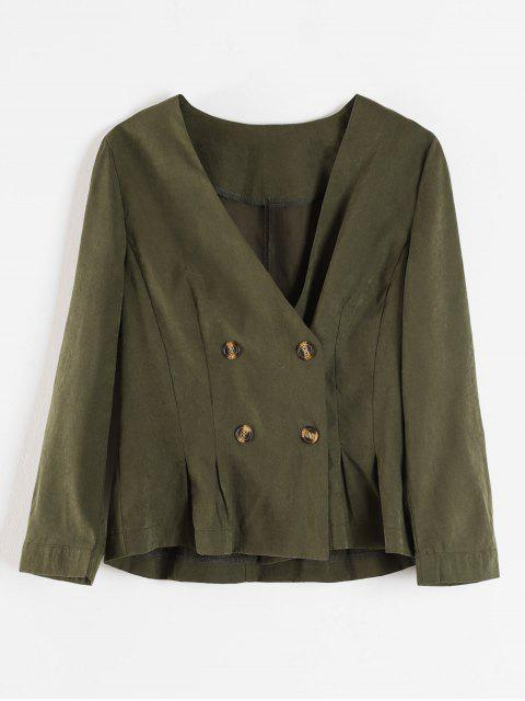 outfit Lapelless Pleated Waist Blazer - ARMY GREEN M Mobile