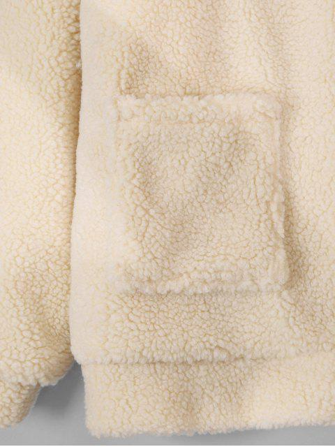 latest Zip Up Fluffy Faux Fur Coat - BLONDE ONE SIZE Mobile