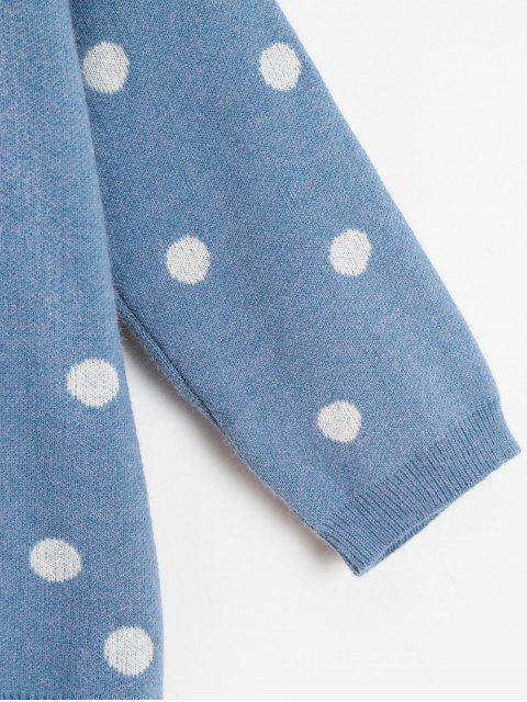 ladies Polka Dot Jacquard Boxy Sweater - SILK BLUE ONE SIZE Mobile