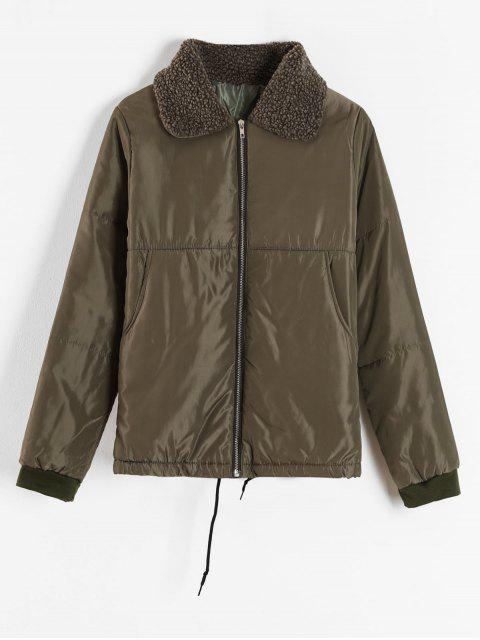buy Borg Collar Puffer Jacket - ARMY GREEN 2XL Mobile