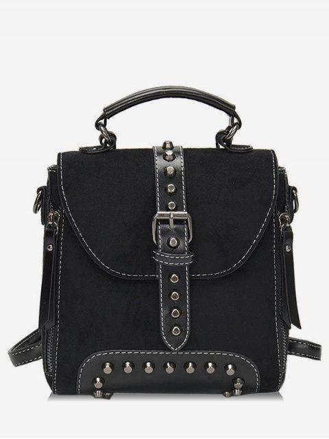 women's Mini Buckle Rivet School Backpack - BLACK  Mobile