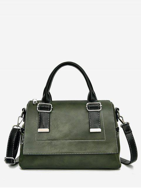 best Color Block Going Out Handbag - DARK FOREST GREEN  Mobile