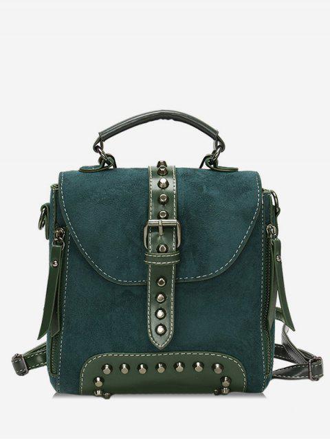 Mini mochila escolar de remache con hebilla - Verde de Mar   Mobile