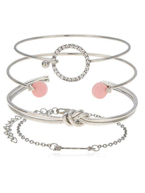 outfits Round Knot Arrow Designed Cuff Bracelets Set - SILVER  Mobile