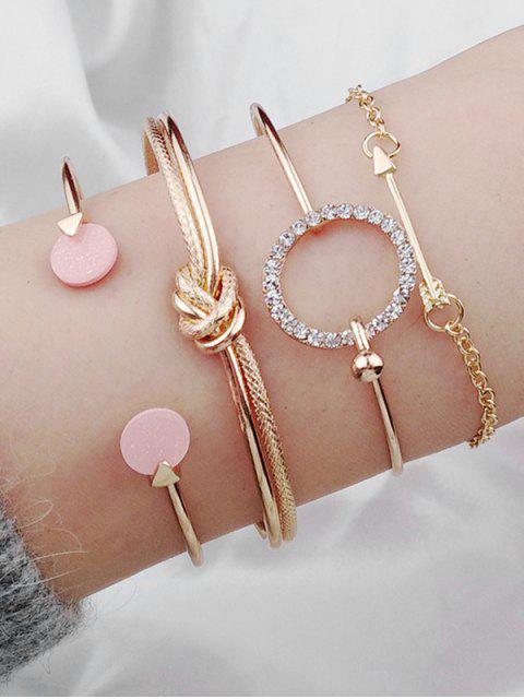 shops Round Knot Arrow Designed Cuff Bracelets Set - GOLD  Mobile