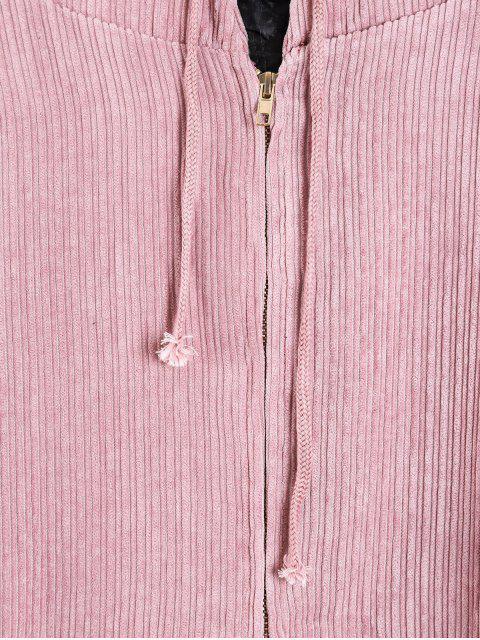 shop Quilted Front Pocket Corduroy Jacket - PINK M Mobile